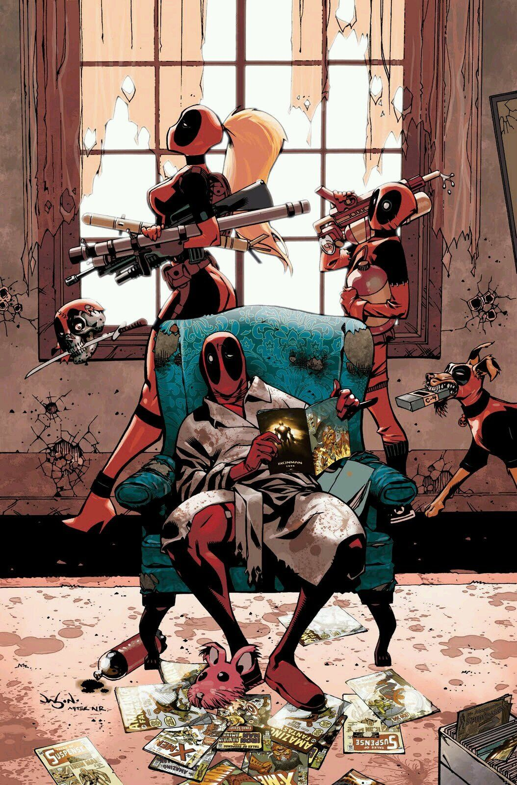 #Deadpool #Fan #Art. (Deadpool Family #1 cover) By: Jason Pearson.  (THE * 5 * STÅR * ÅWARD * OF: * AW YEAH, IT'S MAJOR ÅWESOMENESS!!!™)[THANK U 4 PINNING!!!<·><]<©>ÅÅÅ+(OB4E)     https://s-media-cache-ak0.pinimg.com/474x/90/46/ba/9046bac38763cb05514119fe5e4aea84.jpg