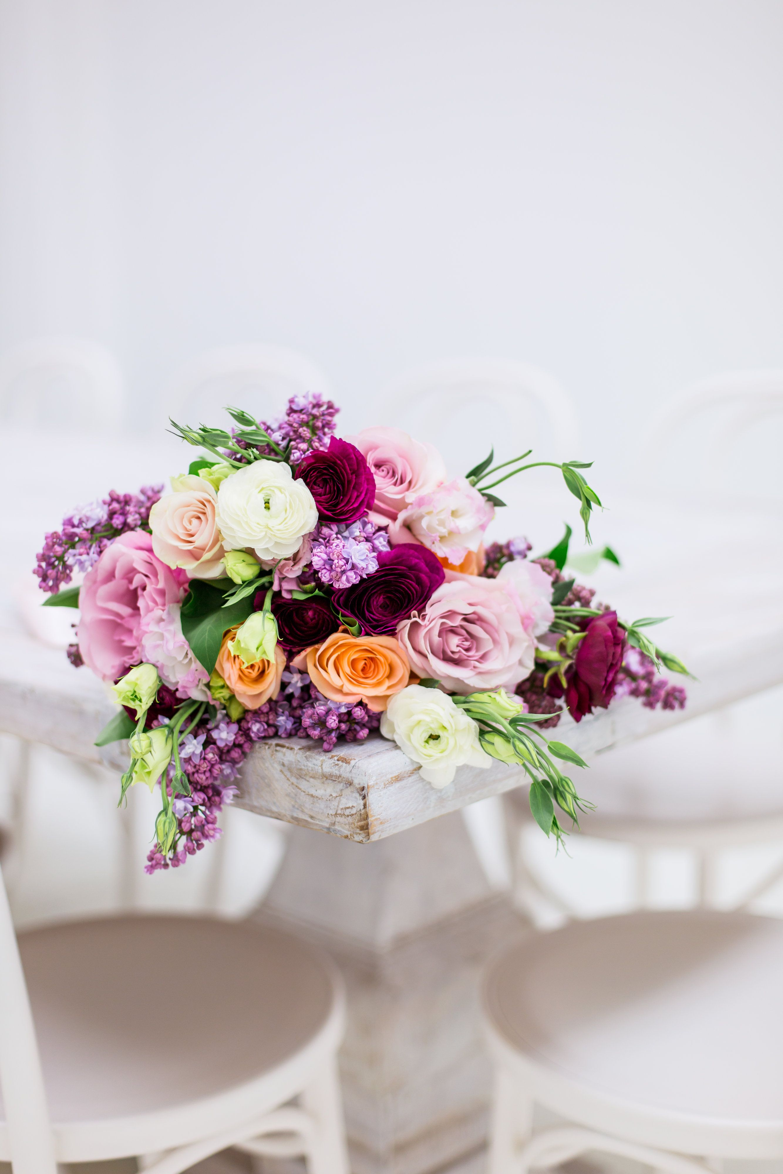 Vibrant Purple Pink And Peach Bridal Bouquet Lilac Bouquet