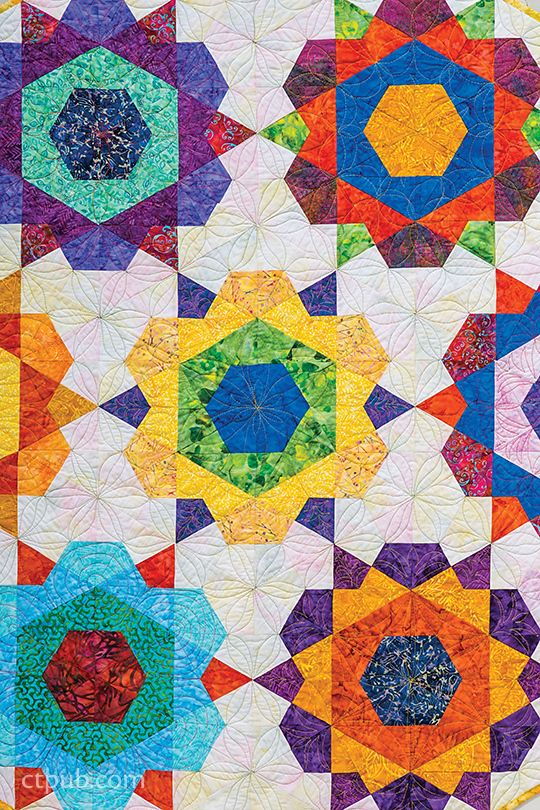 Marci Baker Blooming Flowers Shining Stars A Brilliant Single Patch Design To Grow Your Pieci English Paper Piecing Quilts Star Quilt Patterns Hexagon Quilt