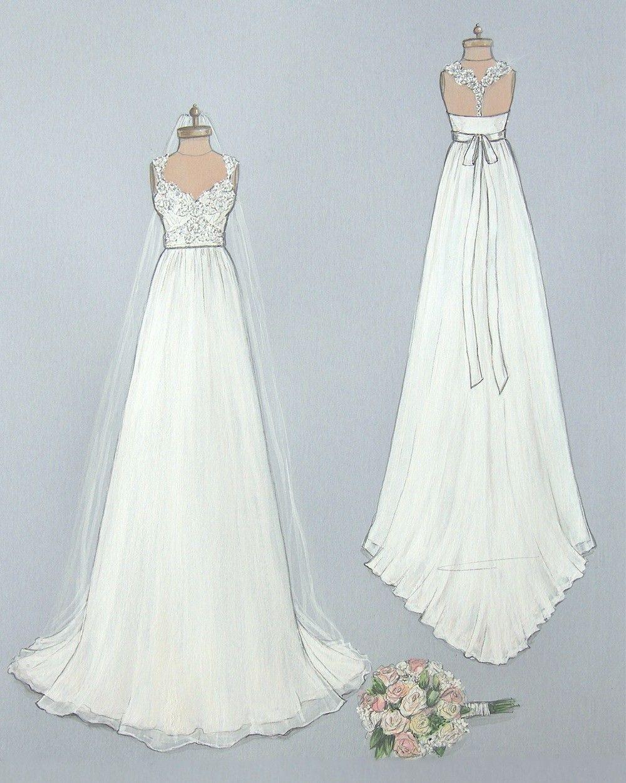 Porfolio of custom wedding dress sketches and illustrations for ...