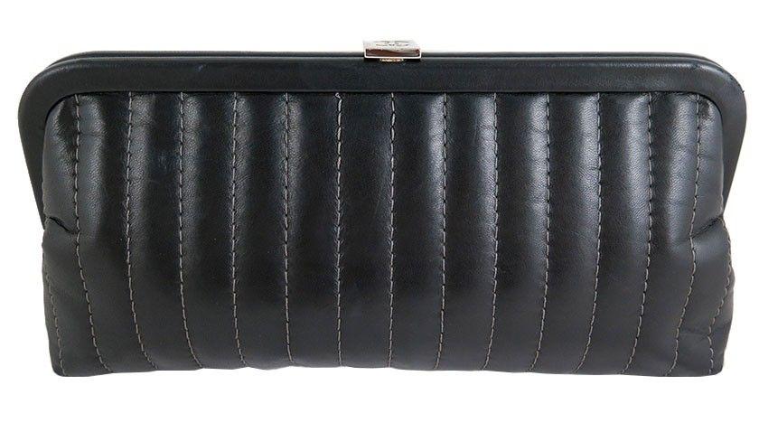 Chanel Black Lambskin Mademoiselle Evening Clutch Purse  a026829208d46