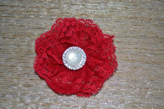 Valentines Day! Red lace hair clip by shopbebeboutique, $10.00