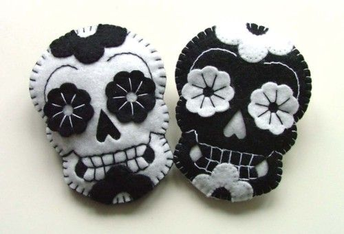 Felted Sugar Skulls. I need to make these!