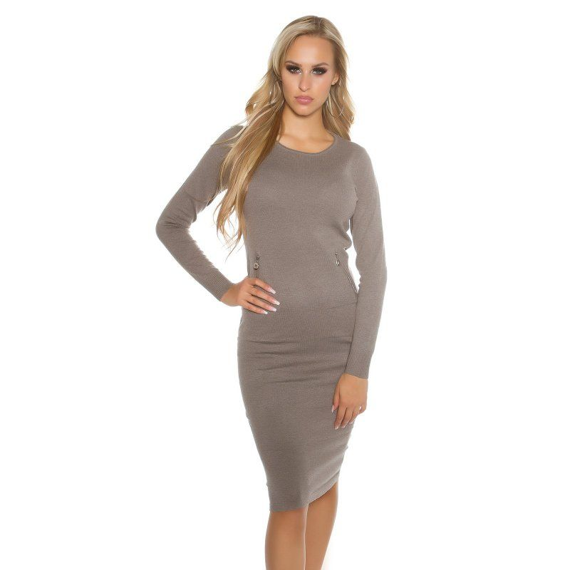 ad8e67865 Dámske dlhé pletené šaty s vreckami | Dámske pletené šaty/ úpletové šaty