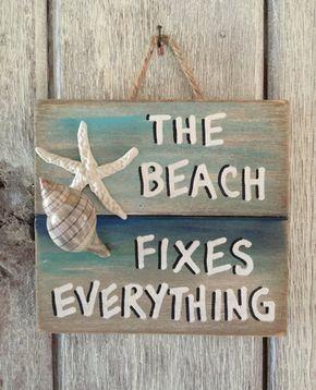 Beach Pallet Art Wooden Beach Fixes Everything Sign Beach Decor