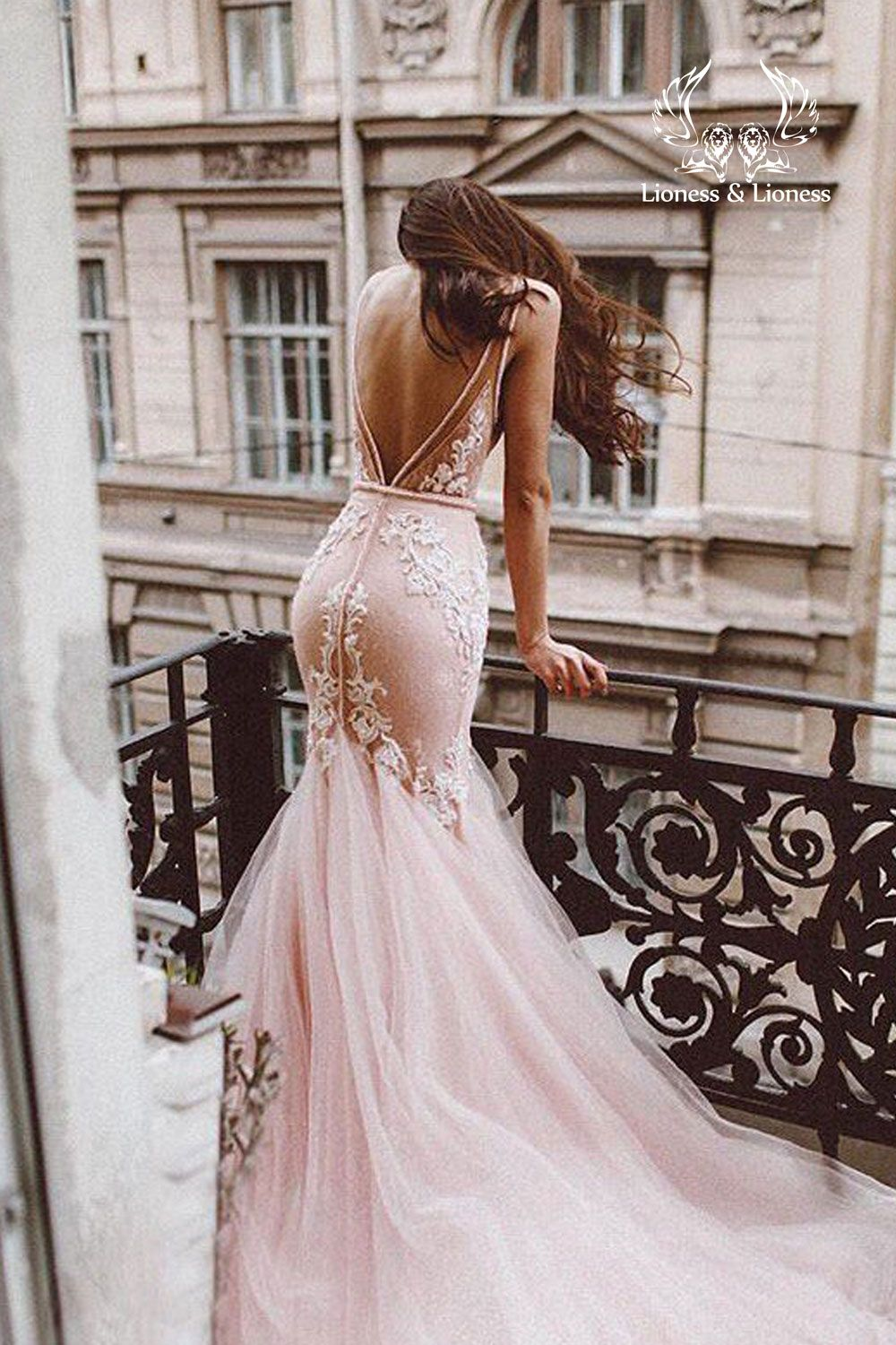 Pink Blush Lace Wedding Dress Mermaid Fluffy Removable Tulle Etsy In 2020 Blush Wedding Dress Lace Backless Mermaid Wedding Dresses Pink Wedding Dresses