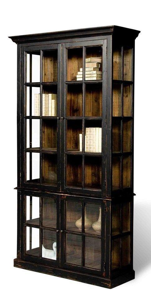 Black Bookcase Distress Finish Fir Hardwood Glass Doors Free