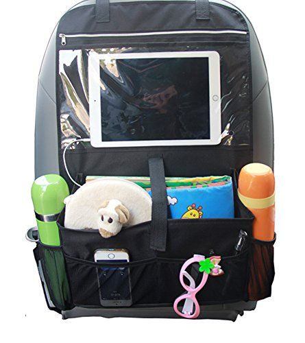 Car Seat Organiser Multi-Pocket Travel Storage With Touch Screen iPad Holder