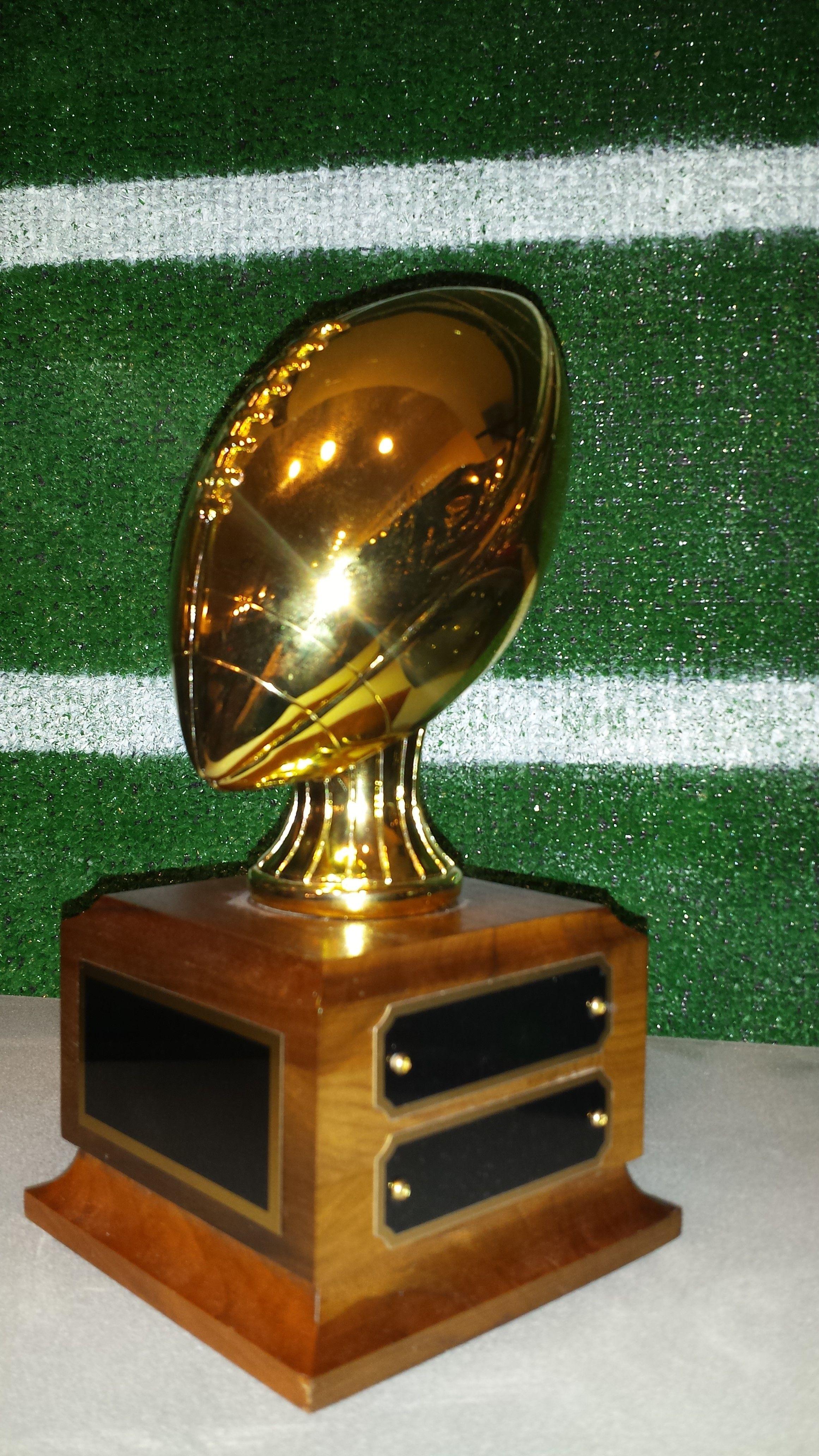 A small fantasy football trophy. www.rcbawards.com