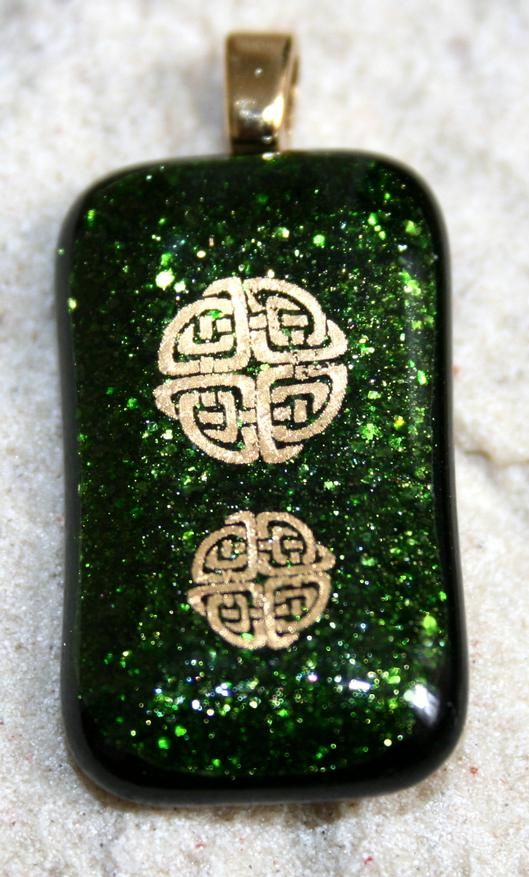 Fused Glass Green Celtic Pendant - by Derryrush Designs