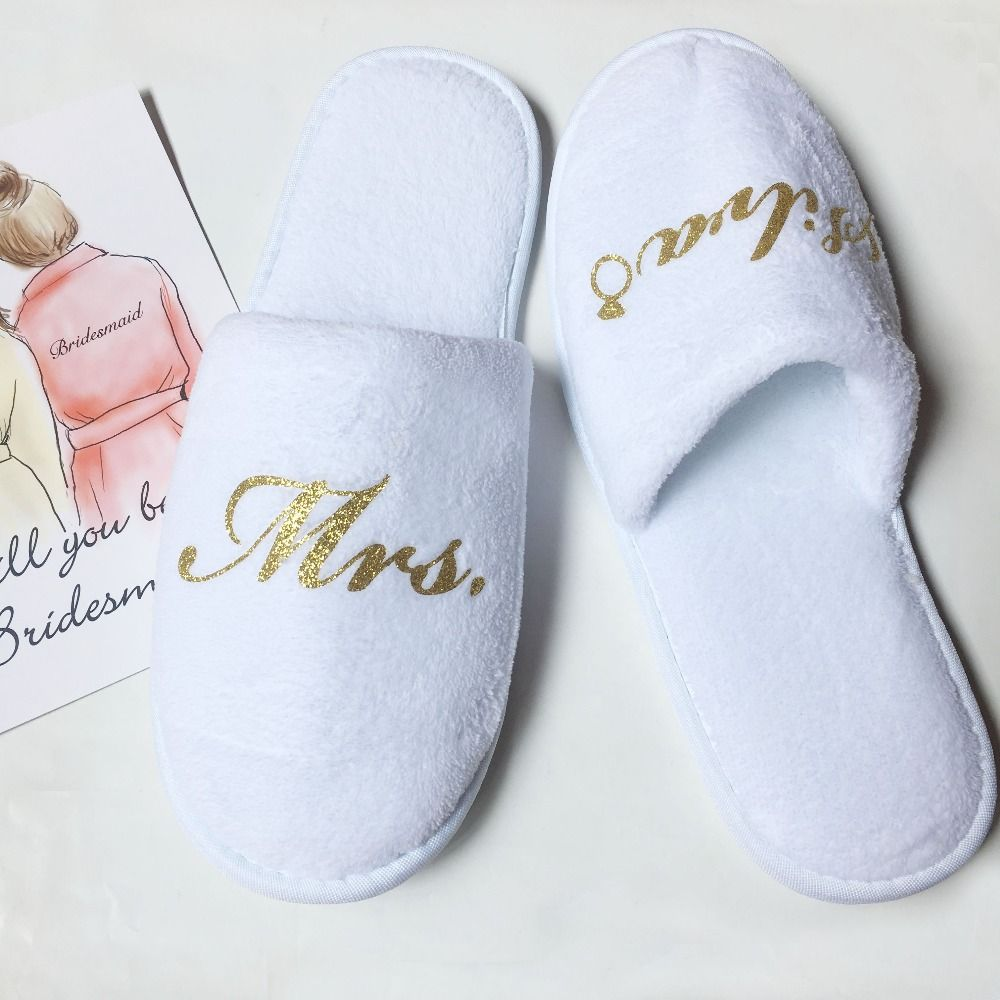 4f1709935 Free Shipping 1pcs lot Custom glitter logo Wedding Bride Bridesmaid gift  bachelorette party gifts personalized slippers-in Party Favors from Home    Garden ...