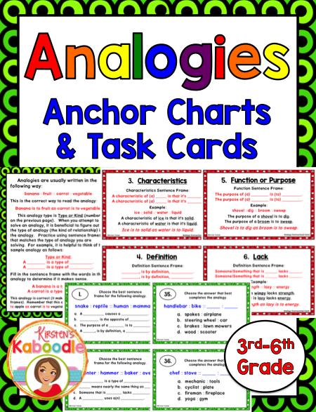 Analogies Activities Task Cards And Anchor Charts Anchor Charts