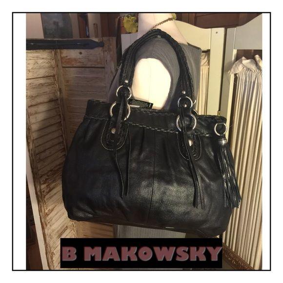 Nwt B Makowsky Black Leather Fairmont Tote Bag Stunning L Ery Soft