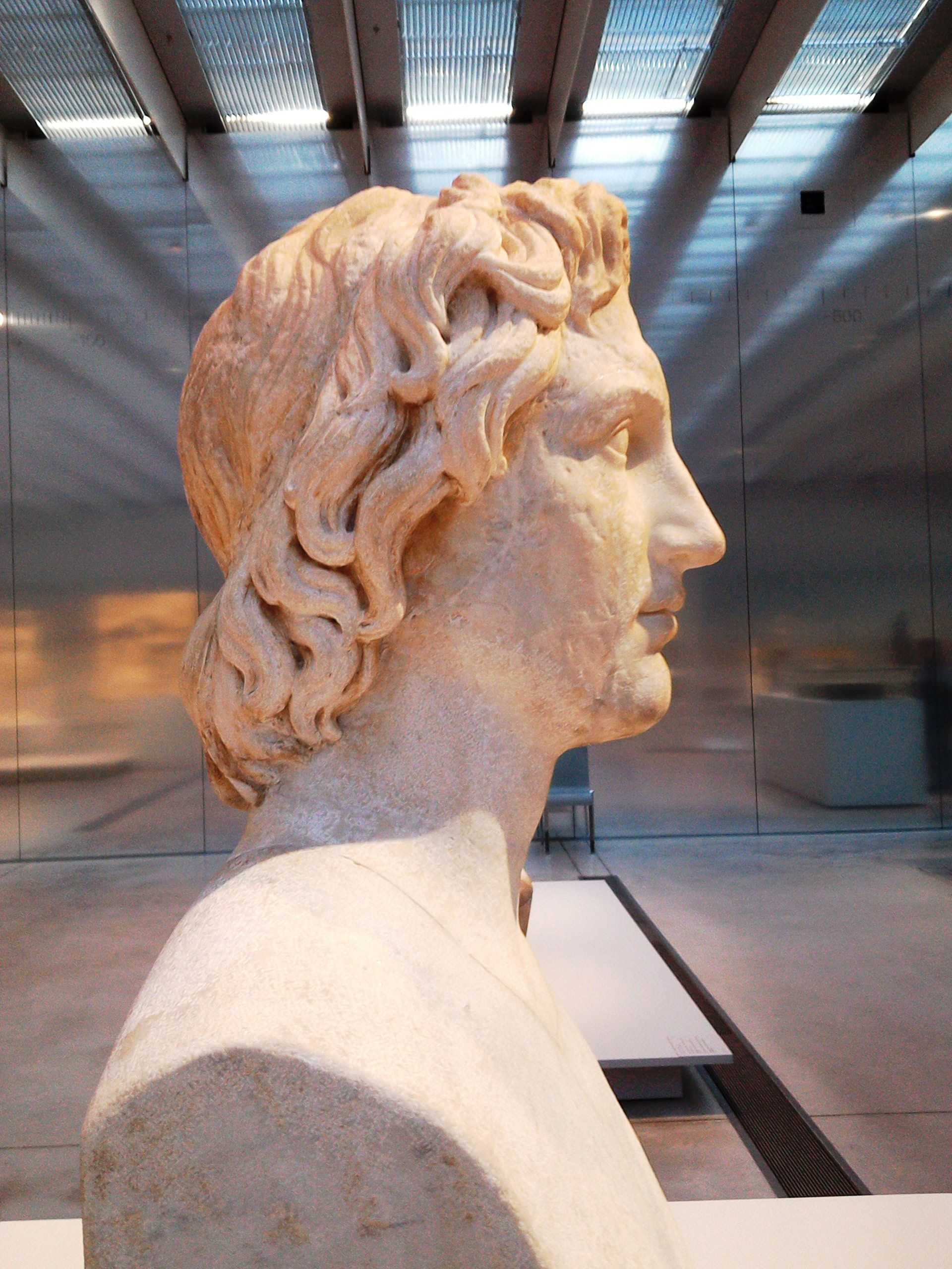 Marble Head Of Alexander Copy From 130 Ad Of An Original Lysippos