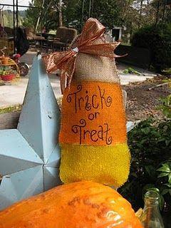 love the burlap candy corn