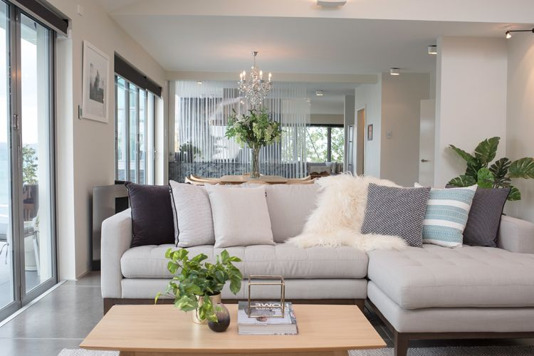 Open Plan Living Formal Area Dining Room Large Concrete Floor Tiles