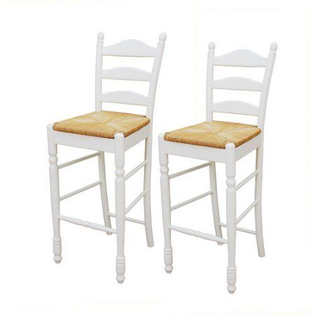 "Ladder Back Rush Seat Bar Stools 30"" Set Of 2 Multiple Colors Simple Walmart Kitchen Stools Review"