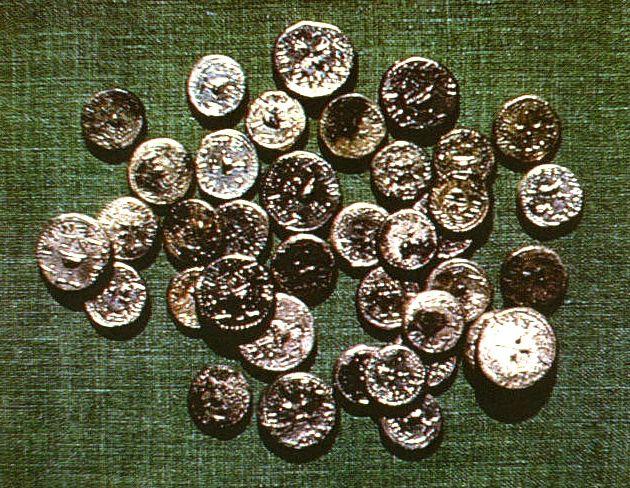 Hoard of silver shekel coins excavated at Masada. Coins