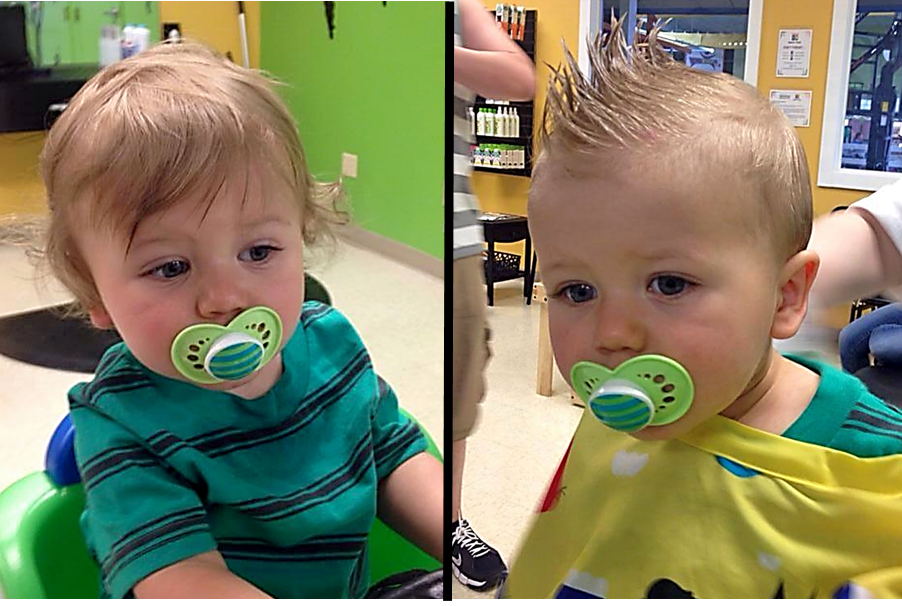From Curly Wisps To A Cool Faux Hawk Boys First Haircut At Junior