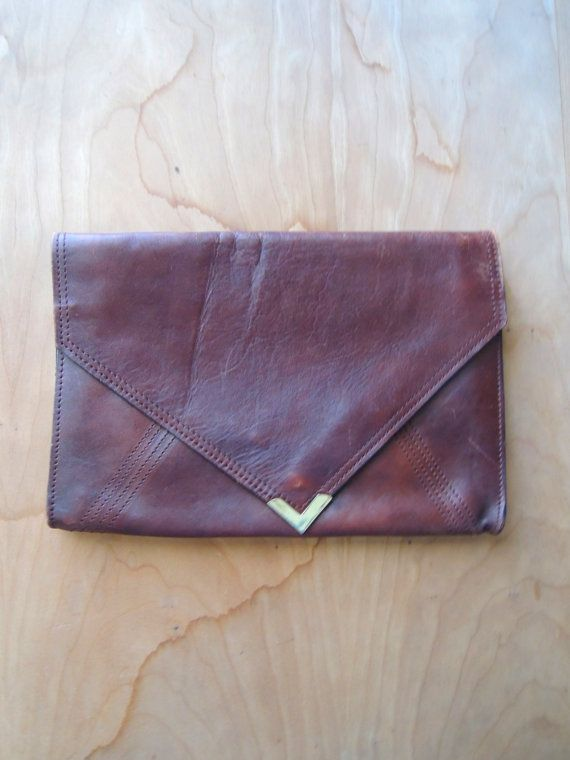 Brown Leather Vintage Clutch// Leather 1970s by altastyles on Etsy, $25.00