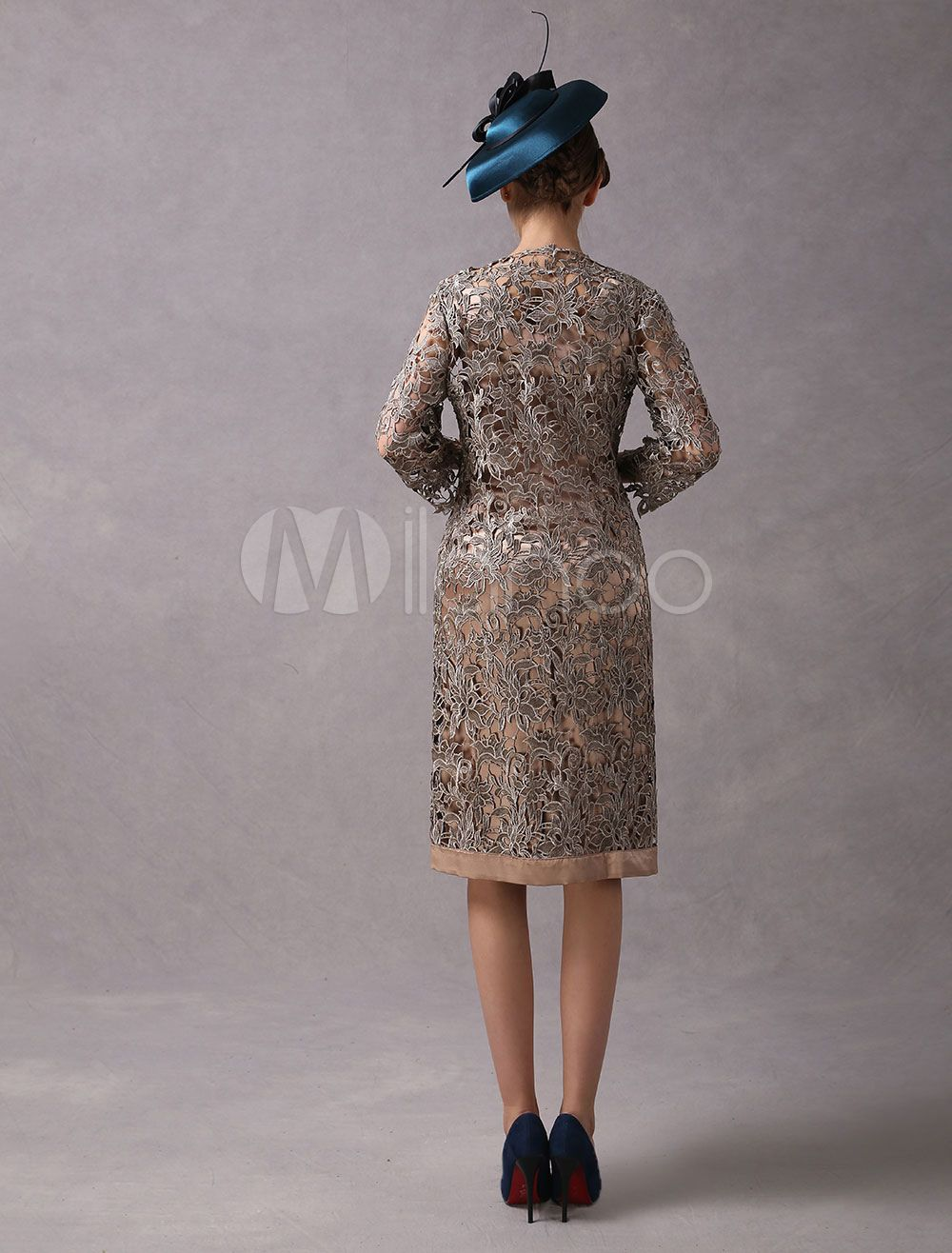 f555ab2e0c4 Wedding Guest Dresses 2 Piece Mother Suits Taupe Lace Satin Vest And Jacket  Wedding Party Dress