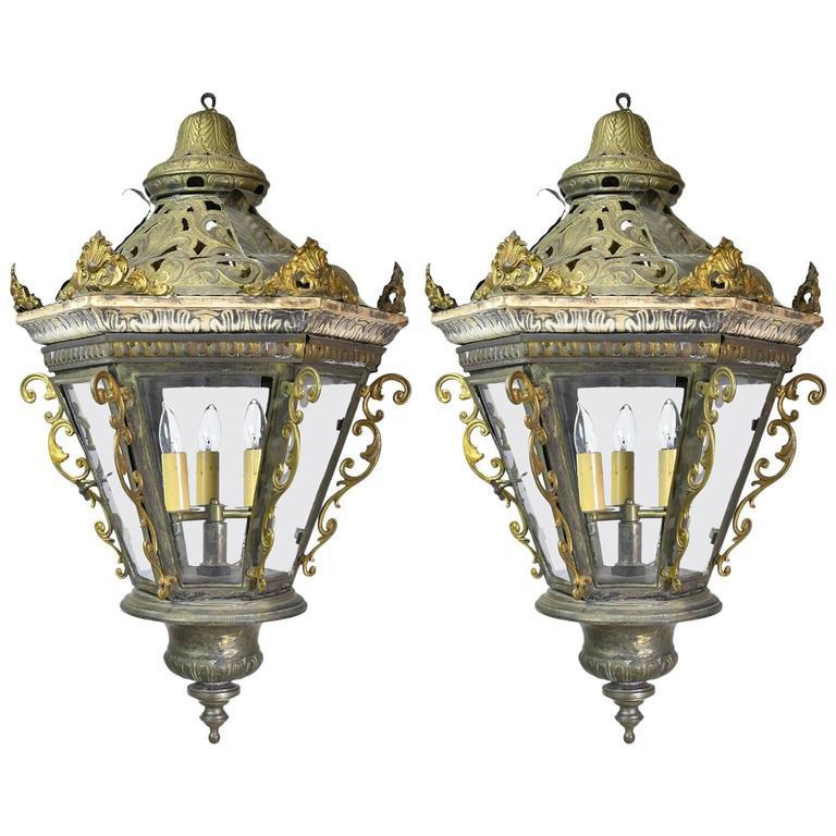 Pair Of Late 19th Century Baroque Style Venetian Gondola Lanterns Italian Baroque Lanterns Baroque