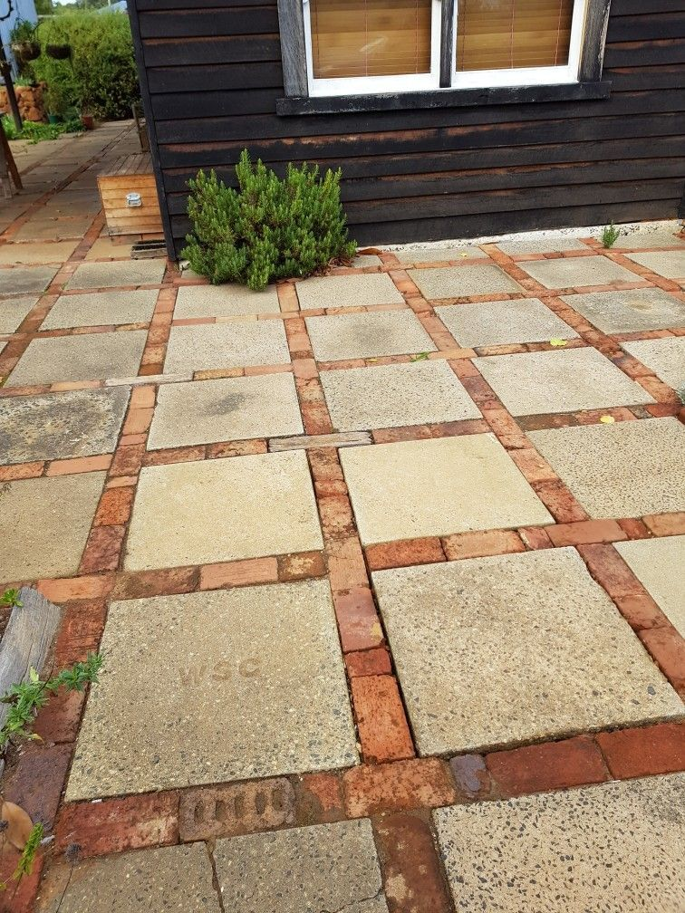 This Is A Very Simple And Inexpensive Solution To A Patio Walkway Etc Cement Square Pavers Edged With Brick Reclaimed Brick Patio Brick Patios Backyard Patio