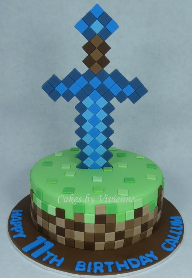 Minecraft diamond sword birthday cake by cakes by vivienne diamond sword minecraft cake 9 inch gluten free chocolate mud cake with all fondant decorations publicscrutiny Choice Image