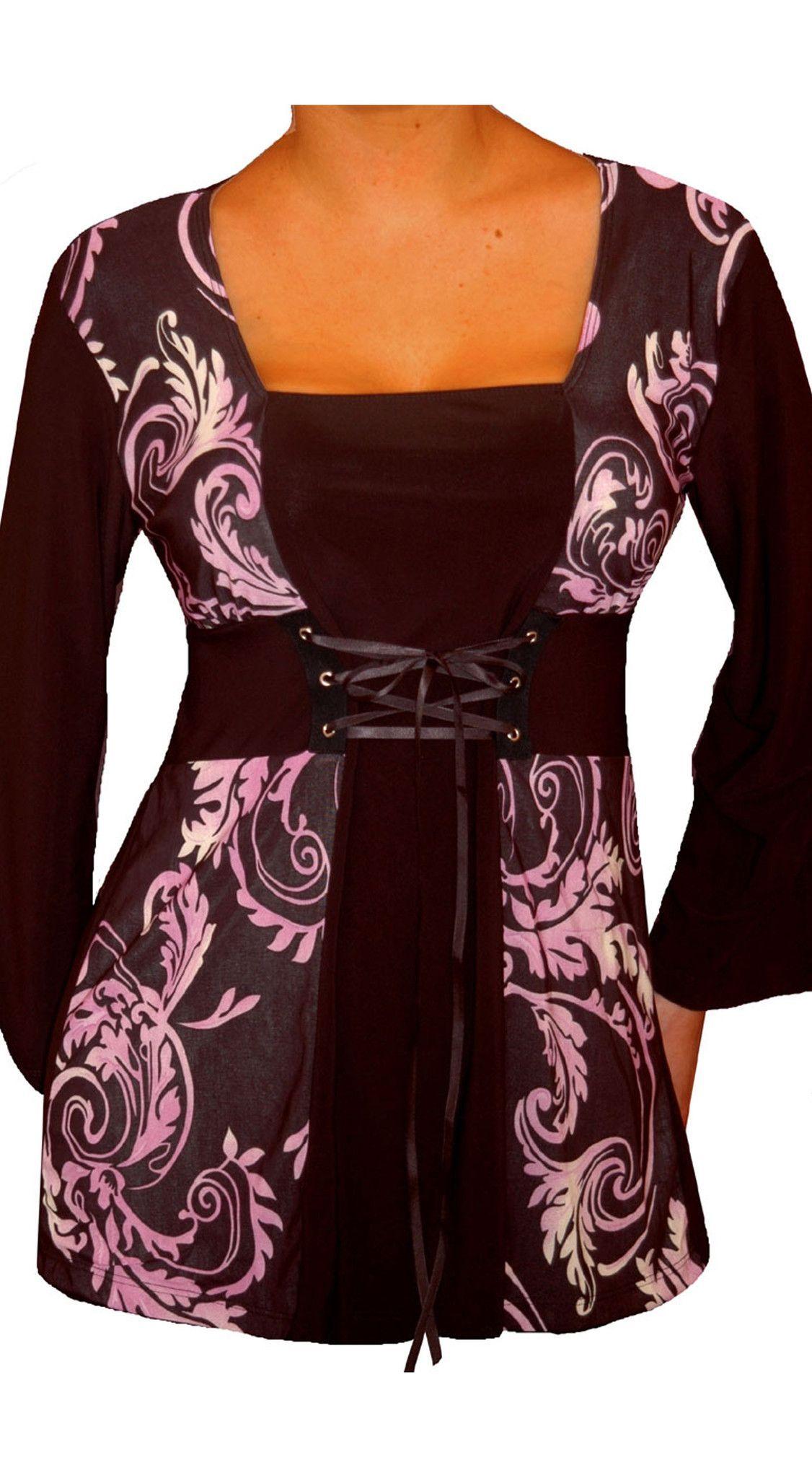 Funfash Plus Size Corset Style Black Purple Women's Plus Size Blouse Top Shirt