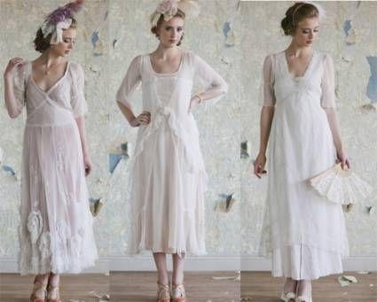 Vestidos de novia a la pantorrilla, estilo de novia vintage ...
