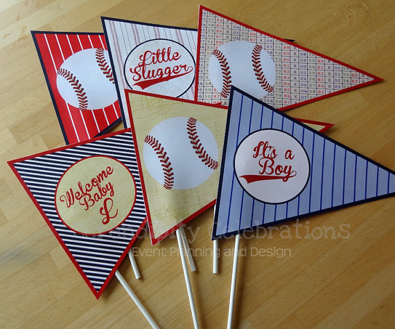 set of 6 personalized flag centerpieces: vintage baseball- table