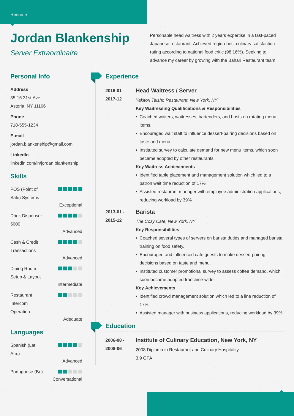 food service resume template modern in 2020 Job resume