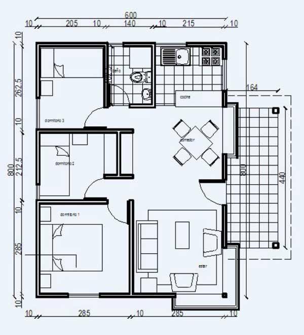 Plano casa de madera 52m2 planos pinterest - Planos casa de madera ...
