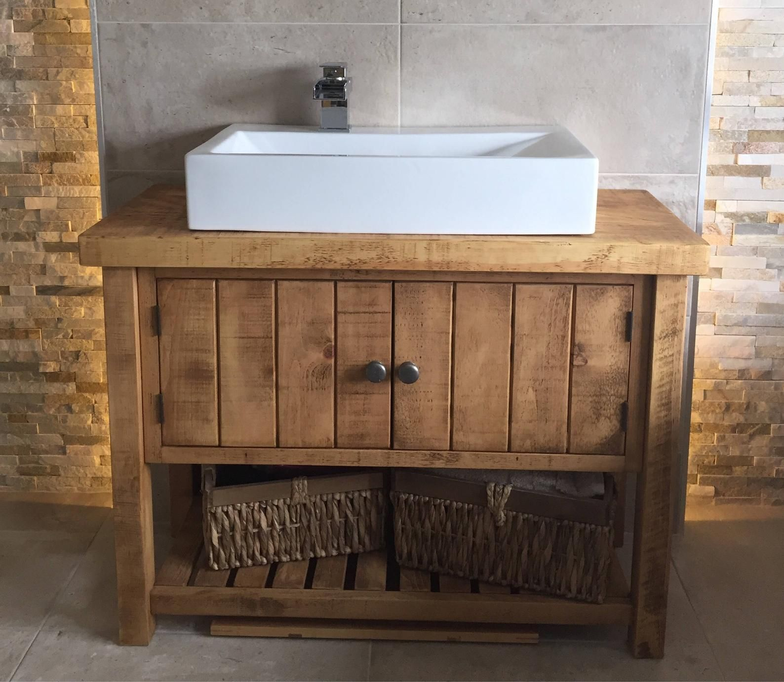 Rustic Chunky Solid Wood Bathroom Washstand Vanity Sink Unit