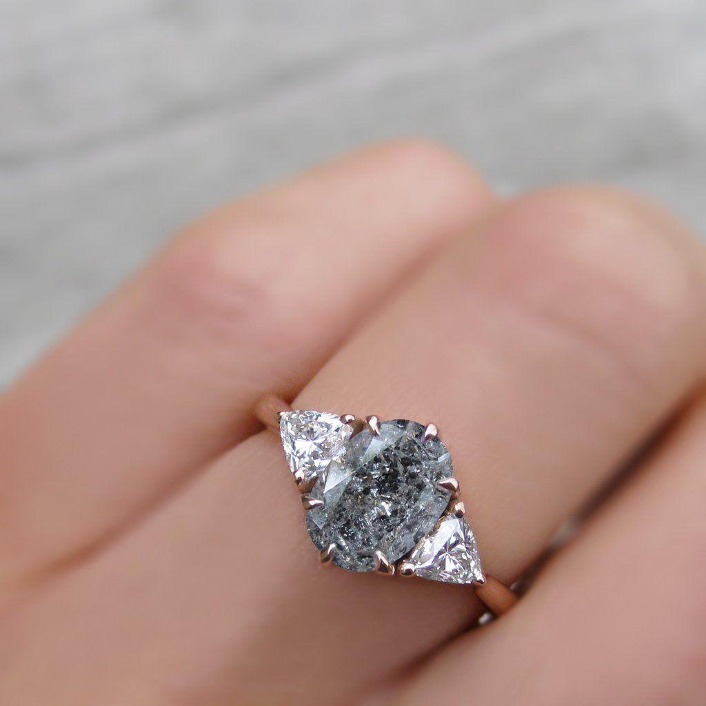 Juno Oval Salt Pepper Diamond Trillion Diamonds 1 85ctw Pink Sapphire Ring Engagement Engagement Ring White Gold Unique Engagement Rings