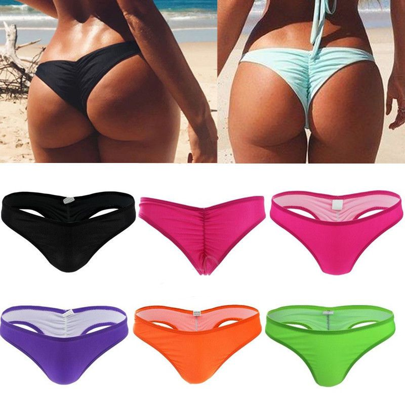 34b769a000c HOT Women Sexy Bikini V Thong Cheeky Bottom Brazilian Ruched Semi Swimwear  Beach