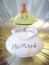 Vintage Holt Howard Pixie Elf Mustard w/ Spoon Pixieware Jar Figurine