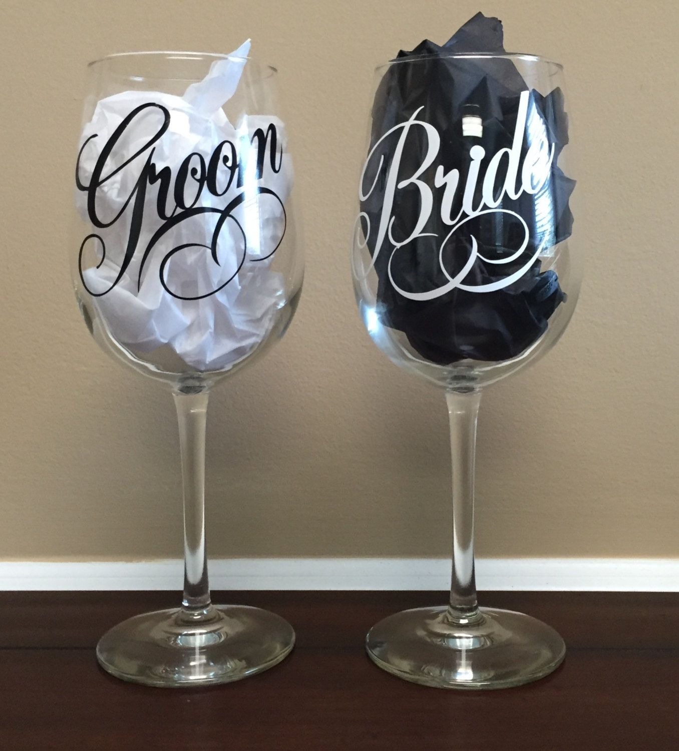 Personalized Bride and Groom Wine Glasses by 5thRowSouth on Etsy