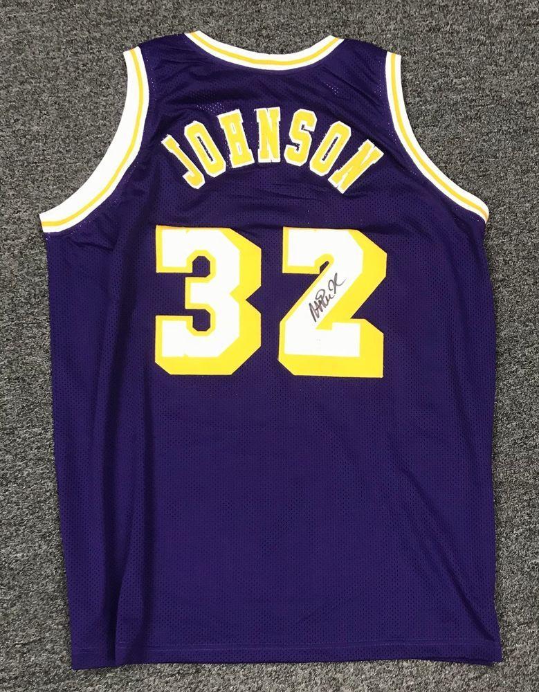 promo code cd344 963b2 Magic Johnson #32 Signed Lakers Jersey AUTO Sz XL JSA ...