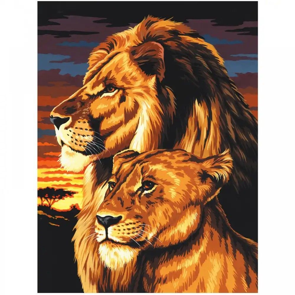 Ooh, I love these colors Lion and lioness, Paint by