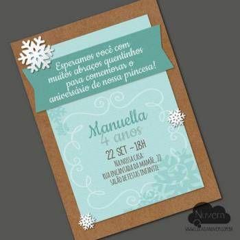 Convite virtual com estilo artesanal para envio por email, whatsapp ou redes sociais. #Frozen, #princesa do gelo