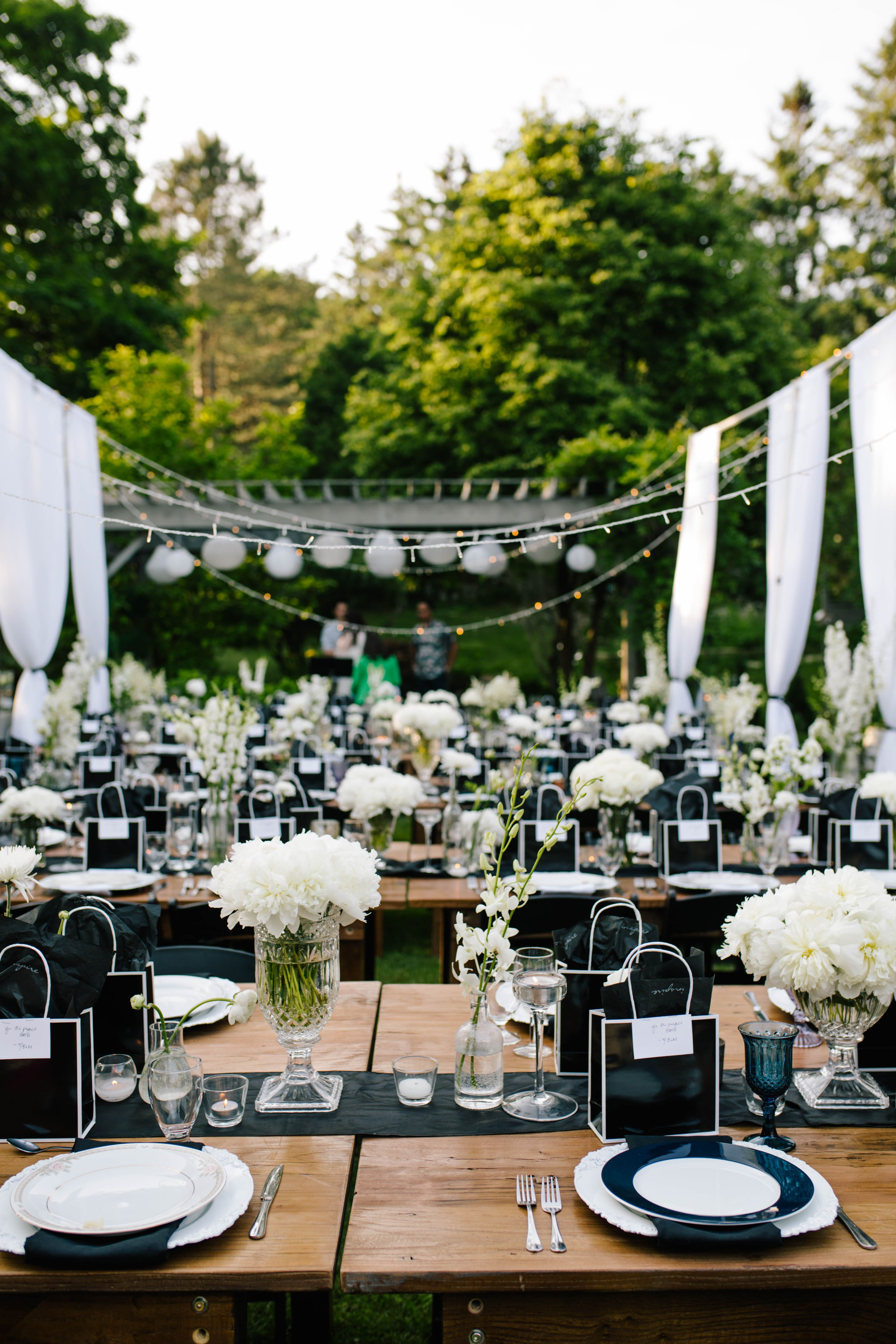 Outdoor Wedding Party Simple And Elegant Decorations White And