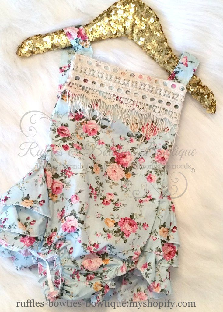 CUTE Blue Moon Girls Vintage Style Floral Pattern Romper 3T Kids Clothing NEW!!!