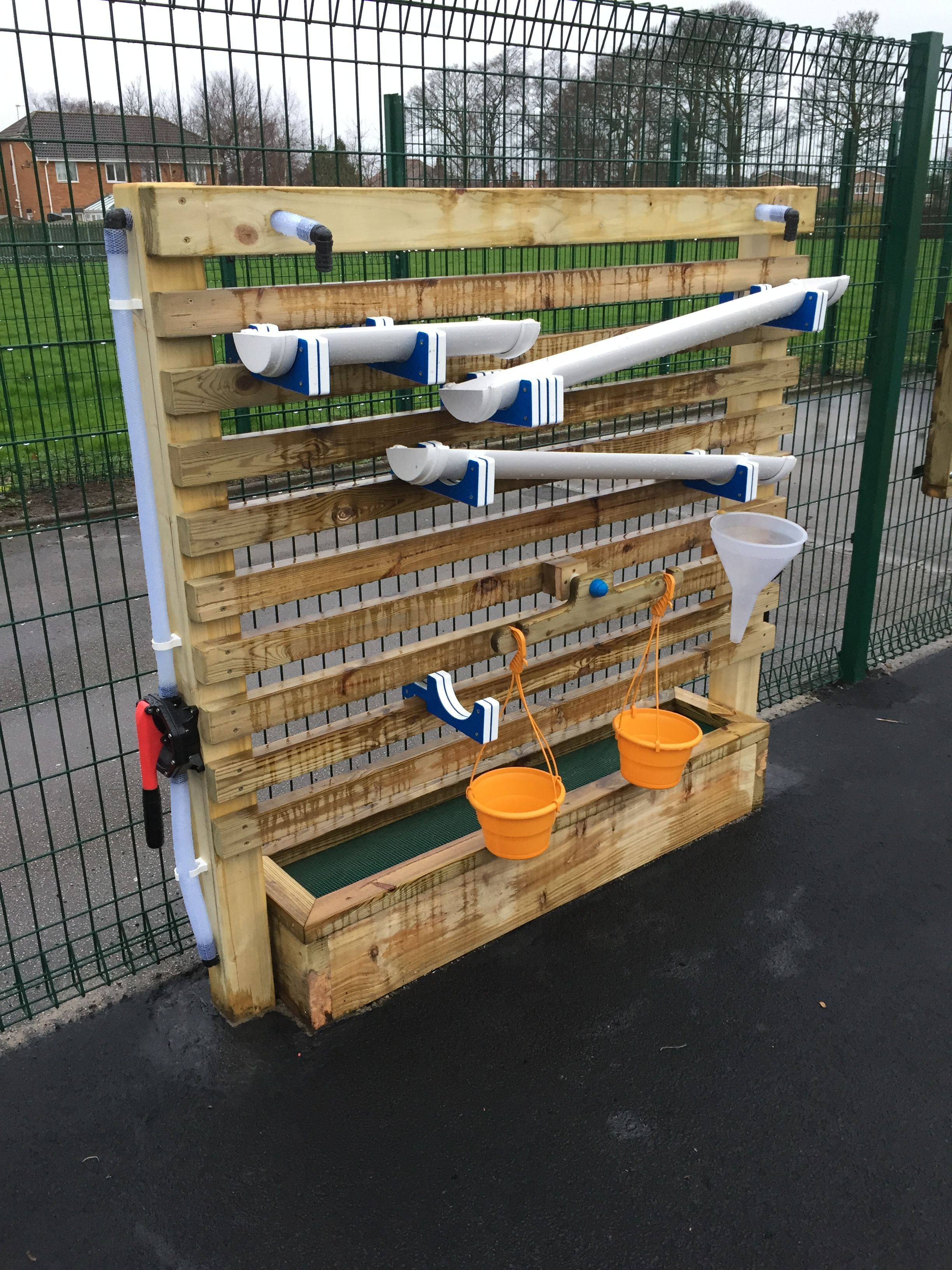 Water Play Water Wall With Adjustable Water Troughs Scales And Funnel Water Play For Kids Eyfs Outdoor Area Water Walls