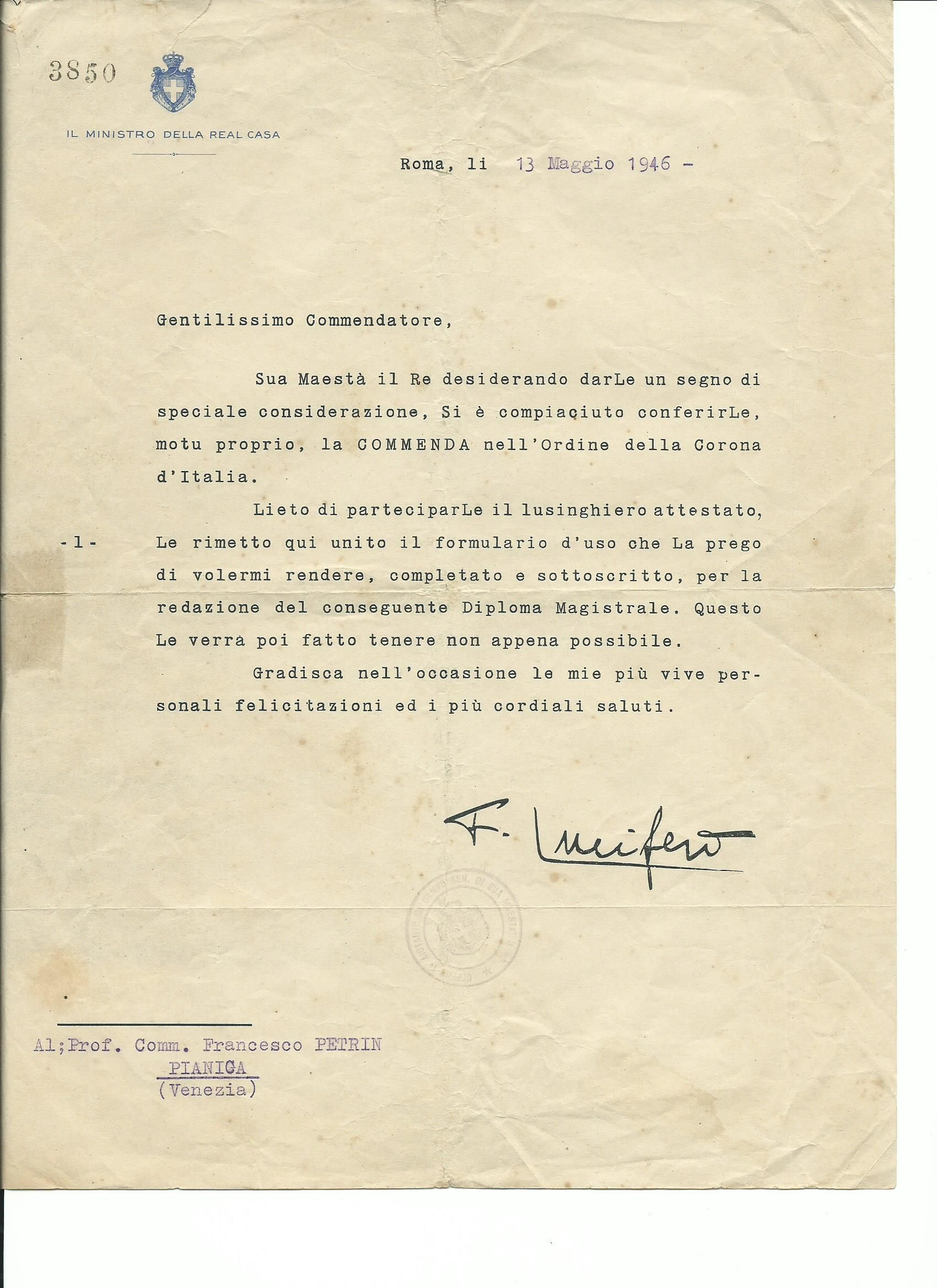 Re Umberto II concede, motu proprio, la commenda a Petrin Francesco (1906-1980),Wikipedia. https://it.wikipedia.org/wiki/Francesco_Petrin