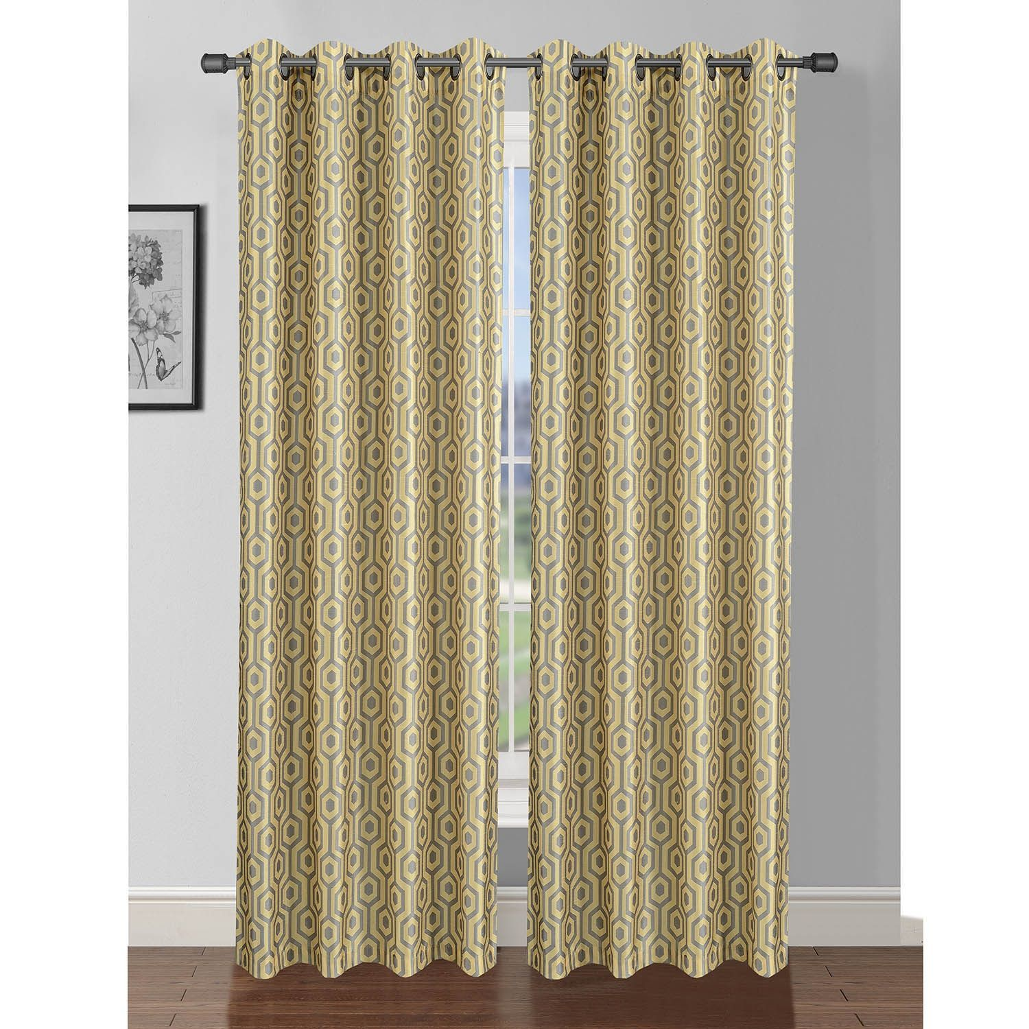 Window Elements Camille Printed Faux Silk 84 Inch Grommet Curtain