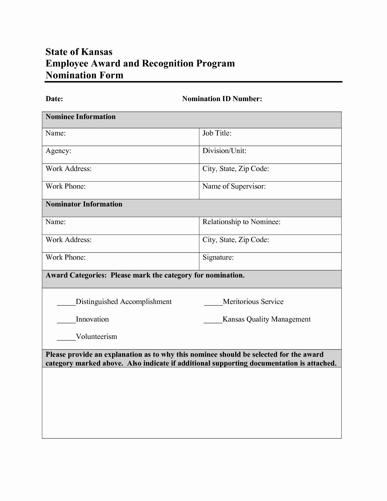 Employee Of the Month Nomination form Template Awesome