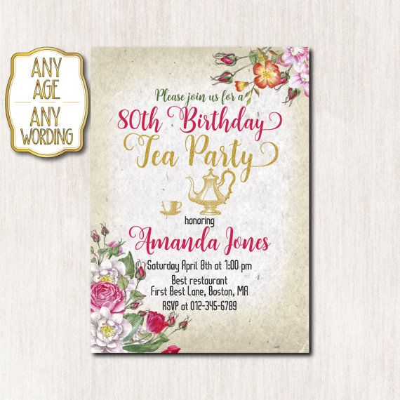 80th birthday tea party invitation Tea party by CoolStudio on Etsy - tea party invitation