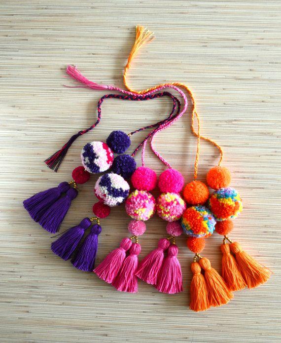 Pom Bag Charm Tassel Purse Hot Neon Pink Handbag Orange Pompom Accessories Colorful