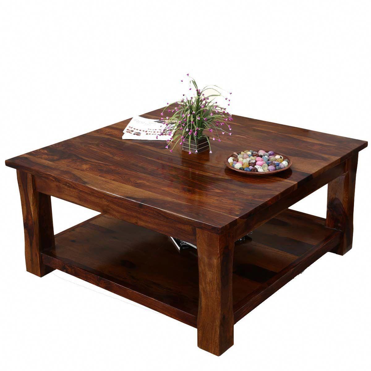 Rustic Solid Wood Sierra Nevada 2 Tier Square Shaker Coffee Table Buildwoodtable Rustic Square Coffee Table Coffee Table Coffee Table Square [ 1200 x 1200 Pixel ]